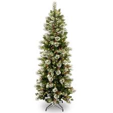 Affordable Christmas Trees For Small Space Gorgeous Slim Green Tree With Nice White Snow