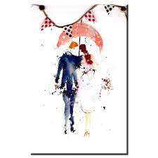ZZ1696 Simple Abstract Canvas Art Watercolor Couple With Umbrella Pictures Oil Paintings For Livingroom Wall In Painting Calligraphy