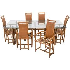 Mid Century McGuire Bamboo Dining Table Chairs Set For Sale