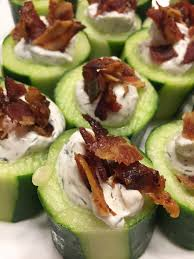 cucumber canapes bacon bites stuffed bacon cucumber cups