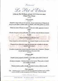 restaurant le pot d etain carte et menus