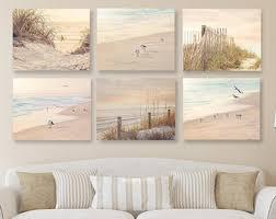 Coastal Wall Art Shabby Chic Beach Decor SET Of SIX Prints Or Canvases Neutral