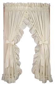 Jacobean Floral Country Curtains by Stephanie Solid Color Country Ruffled Shaped Valance Window