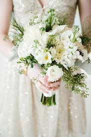 All White Bouquet Greenery Photo By Angela Evan Photography