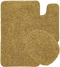 kashi home layla 3 stück shaggy badezimmer teppich set badematte contour teppich deckel farbe oversized gold