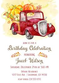 100 Truck Birthday Invitations Red Pumpkin Announce It