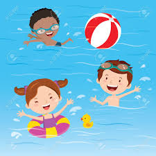 Kids Having Fun In The Swimming Pool Stock Vector