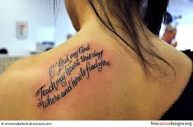 Bible Phrase Tattoo On A Girls Shoulder
