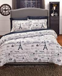 Paris Bedding or Curtains forter Set Black White Shams New