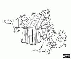 The Wolf And Wooden House Coloring Page