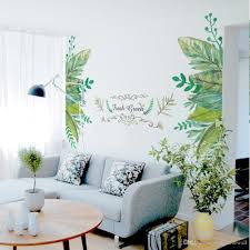100 Fresh Home Decor European Style Leaves Fake Metal Scroll Green Wall Stickers