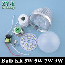 5pcs led bulb kit 3w 5w 7w 9w aluminum bulb shell driver pcb with