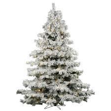 Vickerman Flocked White On Green 10 Foot LED Alaskan Tree With 1400 Warm Lights