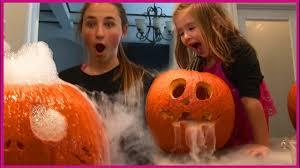 Funny Pumpkin Carvings Youtube by Pumpkin Carving Challenge By Girls With Dry Ice Halloween Kids