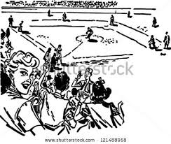 Take Me Out To The Ball Game Retro Clipart Illustration