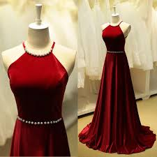 High Neckline Floor Length Red Wine Taffeta Fabric Dress With Open Back