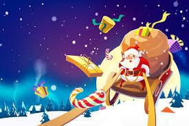Traîneau De Noël Avec Des Rennes Cartoon Illustration Vectorielle De