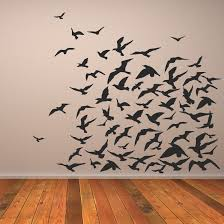 Bird Wall Art Birds Black Stickers Awesome Simple Wallpaper Flying Wooden Floor Brown