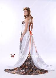 Cheap Unique Strapless A line White Camo Wedding Dress with Lace up