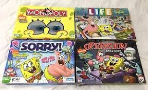 Spongebob Board Game Lot Of 4 Sorry Monopoly Life Operation 100 COMPLETE RARE
