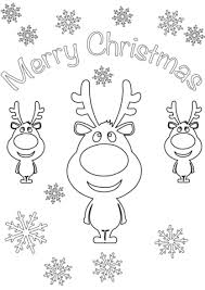 Click To See Printable Version Of Merry Christmas Card With Cartoon Reindeers Coloring Page