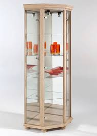 sensational design corner glass cabinet imposing decoration light