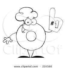 Royalty Free RF Clipart Illustration Of A Coloring Page Outline Donut Character Wearing Chef Hat And Number One Glove By Hit Toon