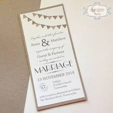 Modern Wedding Invitation With Bunting Graphic And Funky Fonts