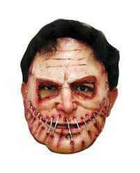Scary Halloween Half Masks by Killer Sewn Mouth Latex Costume Mask Stitches Half Halloween Party