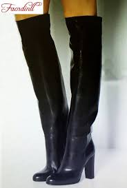 online get cheap ladies black leather knee high boots aliexpress