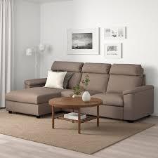 lidhult 3er sofa mit récamiere lejde beige braun