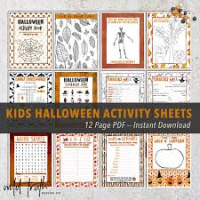 Halloween Mad Libs For 5th Graders by Halloween Activity Book Sheets 12 Page Pdf Printable All Ages