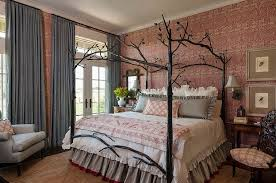 View In Gallery Farmhouse Style Bedroom With Custom Bed And Striking Wallpaper From Maison Interior Design