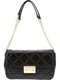 michael michael kors quilted chain shoulder bag in black lyst