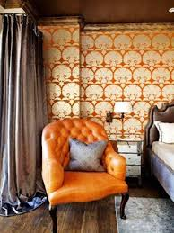 Orange Leather Tufted Sitting Chairs For Bedroom : Comfy Sitting ...