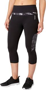 reebok women u0027s solid pieced stretch cotton high waist capris