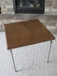 Cosco Mahogany Folding Table And Chairs by Vintage Samsonite Card Table 1950s Folding Table Metal Legs