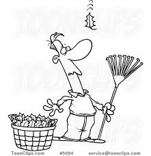 Cartoon Black and White Line Drawing of a Guy Raking Leaves Watching yet Another Fall 5094 by Ron Leishman