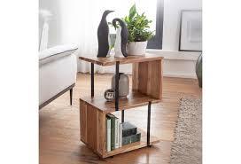 wohnling beistelltisch s form 45x60x30cm akazie metall ablagetisch tischchen wohnzimmer industrial holztisch mit metallbeinen dekotisch holz