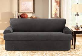 Stretch Slipcovers For Sofa by Sure Fit Stretch Pique Three Piece T Cushion