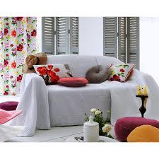 jetés de canapé plaid ou jeté de canapé uni tissé relief floral becquet gris