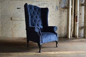 modern chesterfield wing arm chair high back navy