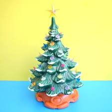 Ceramic Christmas Tree With Lights Vintage Light Mold Green Rainbow Bulbs Orange