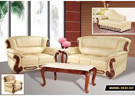 Living Room Khaki Leather Sofa LoveseatMeridian Furniture