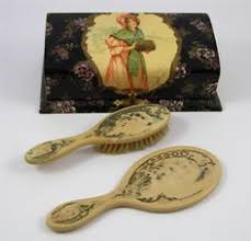 Celluloid Vanity Dresser Set by Gorgeous Antique Victorian Dresser Jewelry Glove Box International