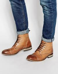 asos lace up boots in tan leather with toe cap in brown for men lyst