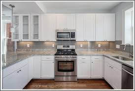 White Gloss Kitchen Design Ideas by Enchanting Kitchen Tile Ideas With Cream Cabinets Photo Ideas