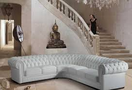 White Modern Tufted Leather Sectional Sofa In Rustic Living Room With Oak Staircase Ideas