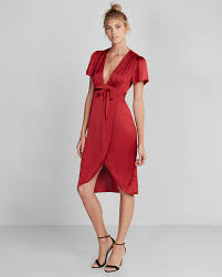 plunge front silky wrap midi dress express
