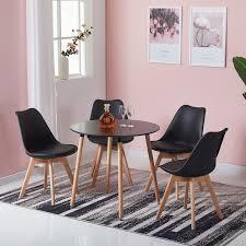 hj wedoo esstisch mit 4 esszimmerstühle schwarz skandinavischen essgruppe 80x80x70cm